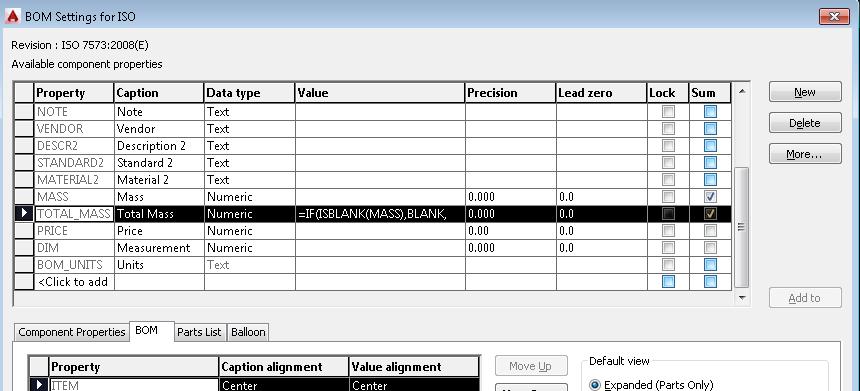 Obliczenie masy całkowitej zestawu komponentóww AutoCAD Mechanical 2