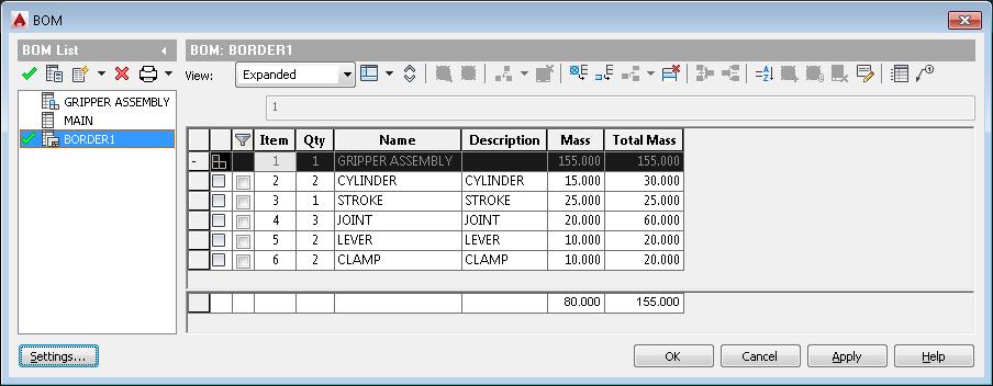 Obliczenie masy całkowitej zestawu komponentóww AutoCAD Mechanical 1