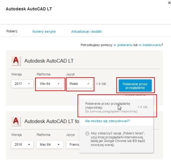 jak pobrać wersję instalacyjną AutoCAD