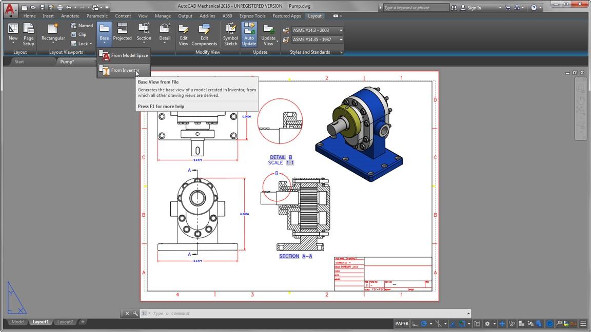 Przekroje w AutoCAD Mechanical