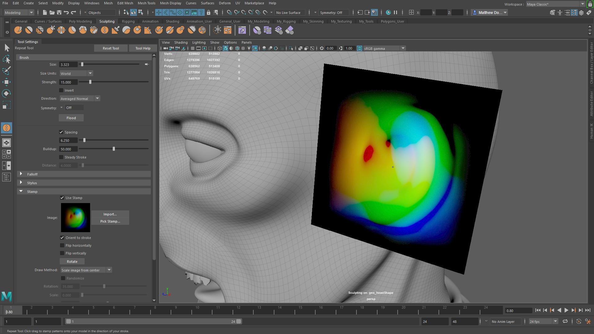 Rzeźbienie twarzy Maya LT