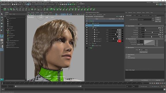 Interaktywne układanie włosów Maya