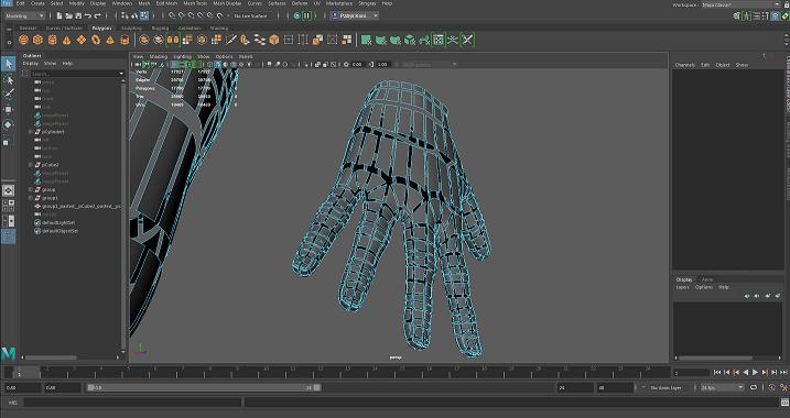 Dłoń wymodelowana w Maya LT