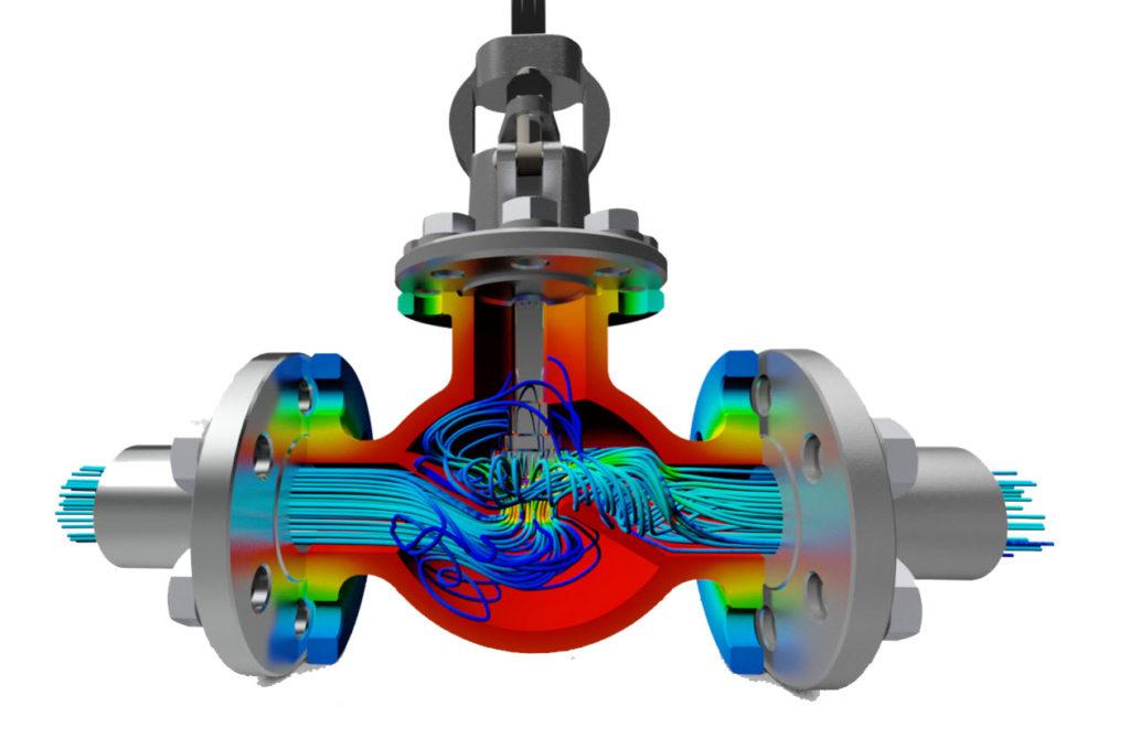 Autodesk CFD - Zawór - Rozłożenie temperatury w zaworze