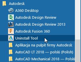 jak usunąc programy Autodesk
