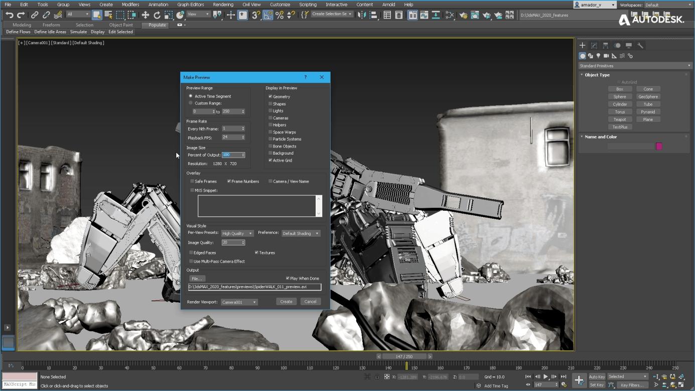 Tworzenie podglądu animacji w 3ds Max 2020
