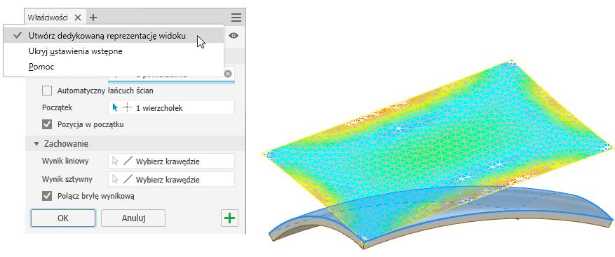 Rozwijanie powierzchni tłoczonych i swobodnych w Inventor 2020