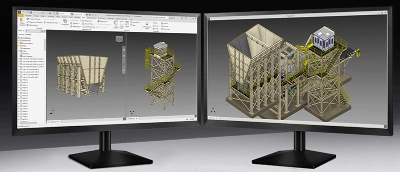 Ulepszenia wyświetlania na wielu monitorach w Inventor 2020