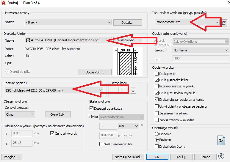 AutoCAD wydruk monochromatyczny