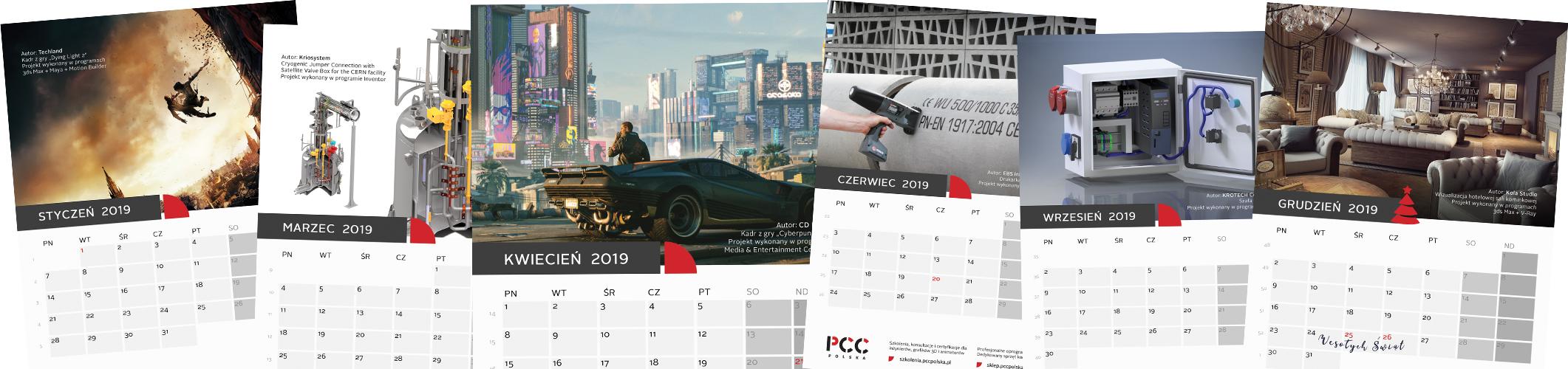 2019-kalendarz - karty kalendarza 2019