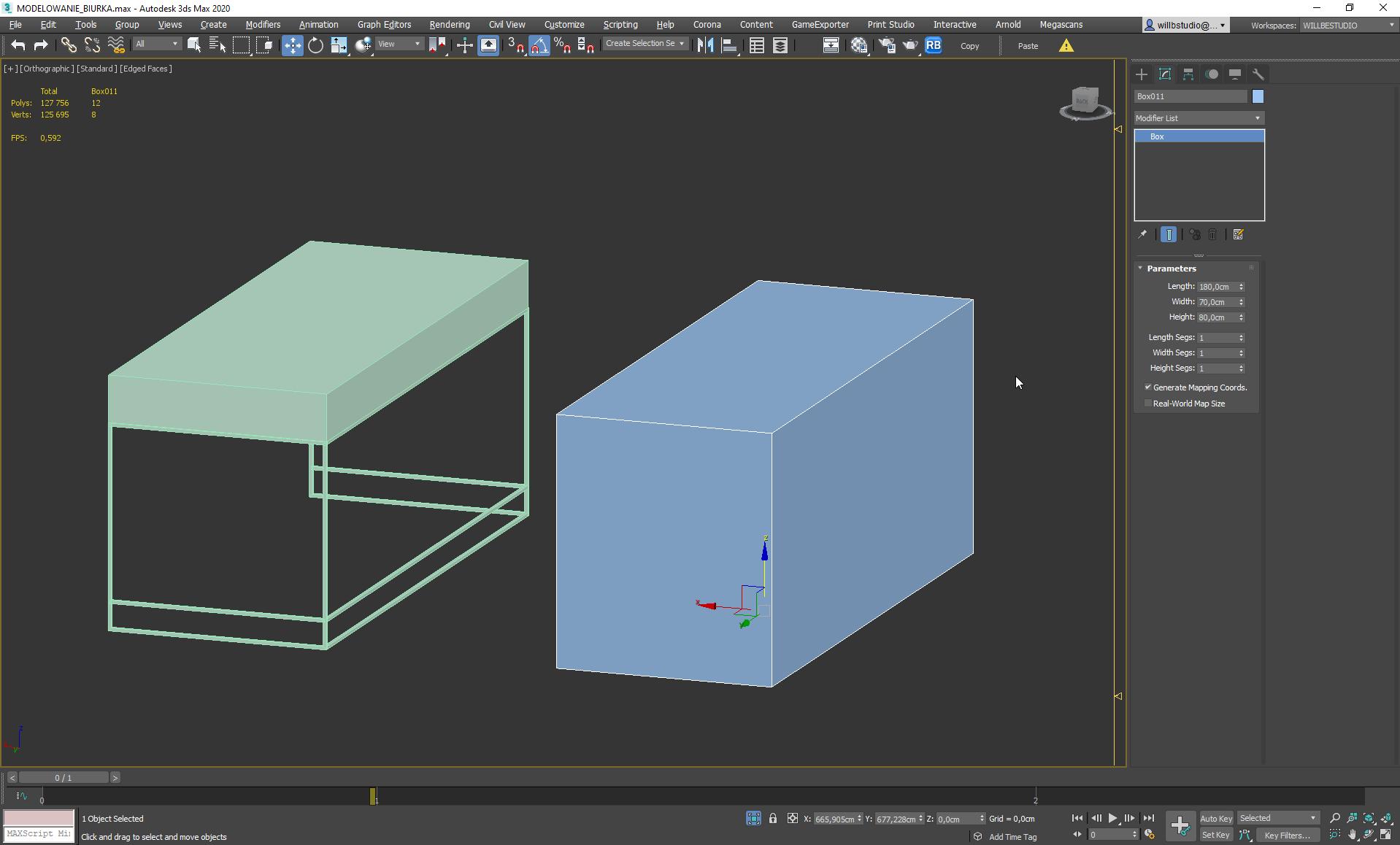 Rozrysowanie konstrukcji biurka w 3ds Max