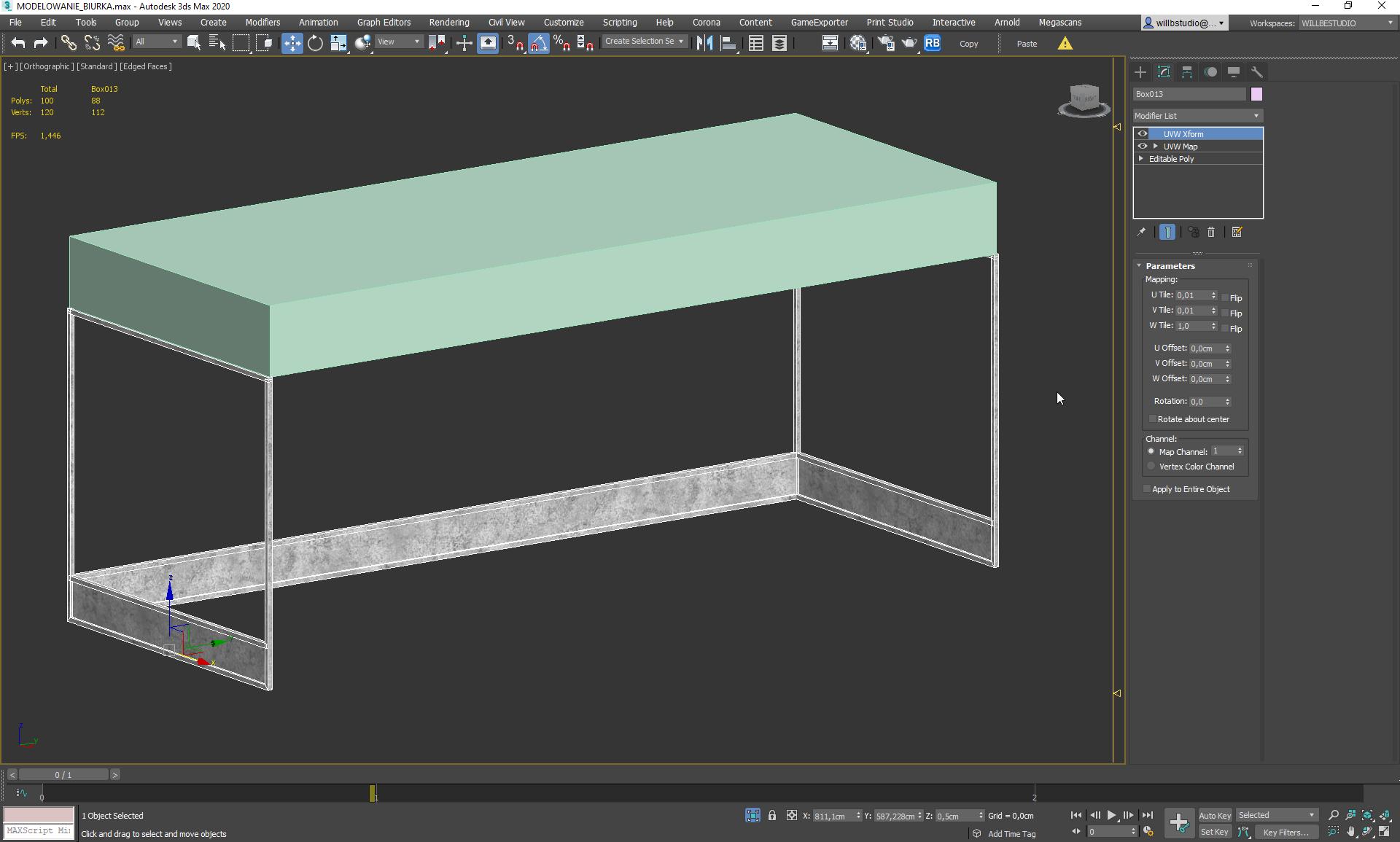 Wybór materiału w modelowaniu biurka w 3ds Max