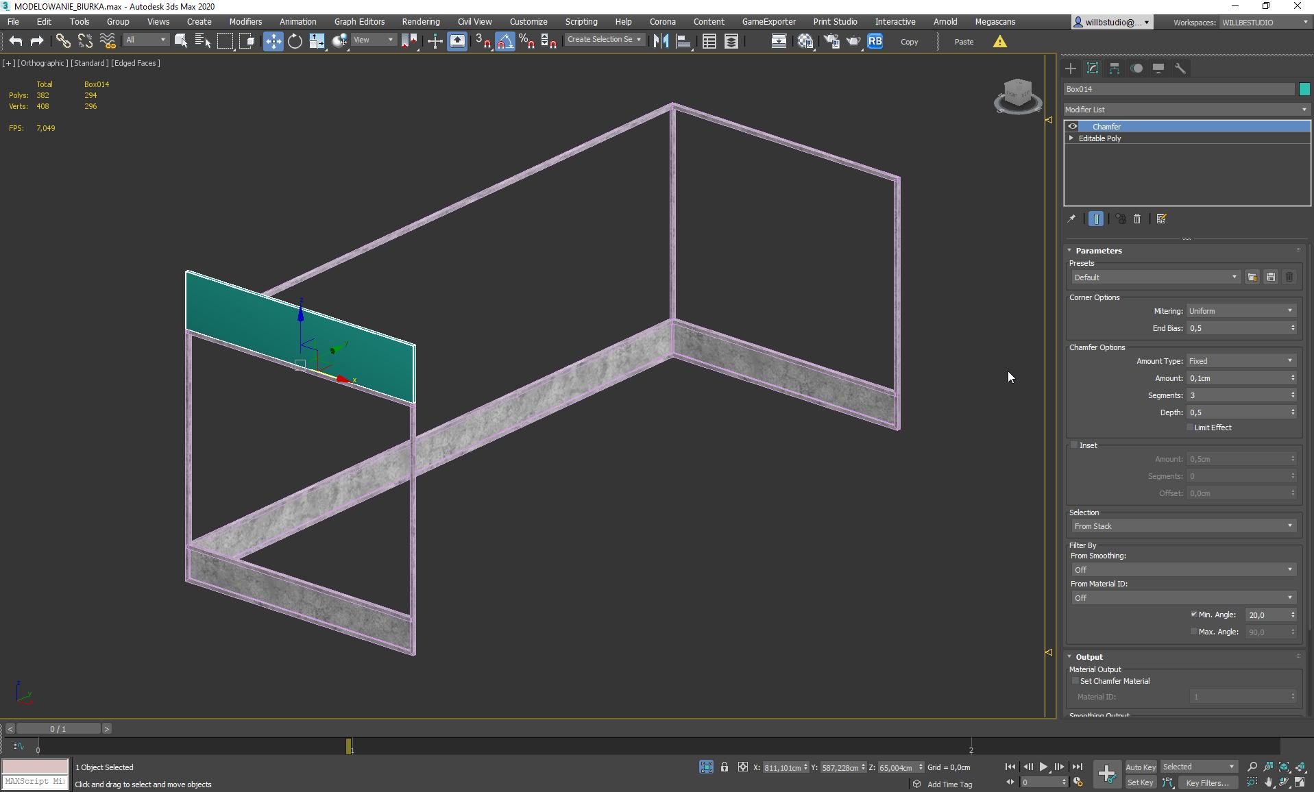 Modelowanie biurka w 3ds Max