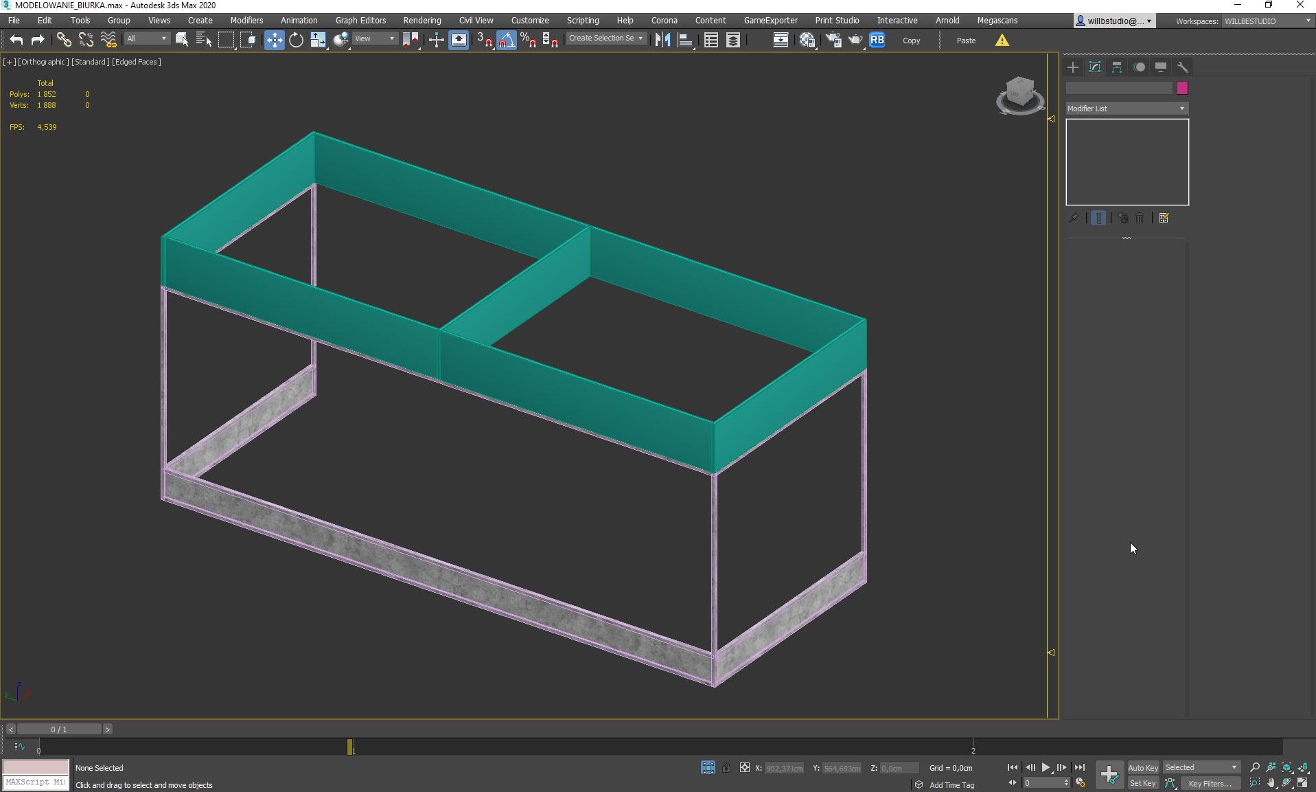 Modelowanie ramy biurka