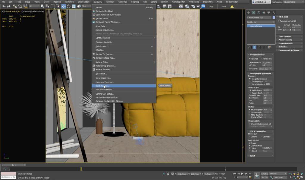 3ds Max Ustawienie kamery oraz renderowania 10