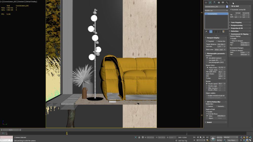 3ds Max Ustawienie kamery oraz renderowania 8