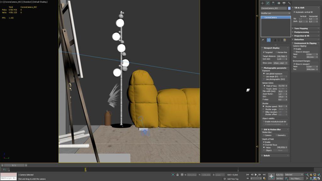 3ds Max Ustawienie kamery oraz renderowania 9