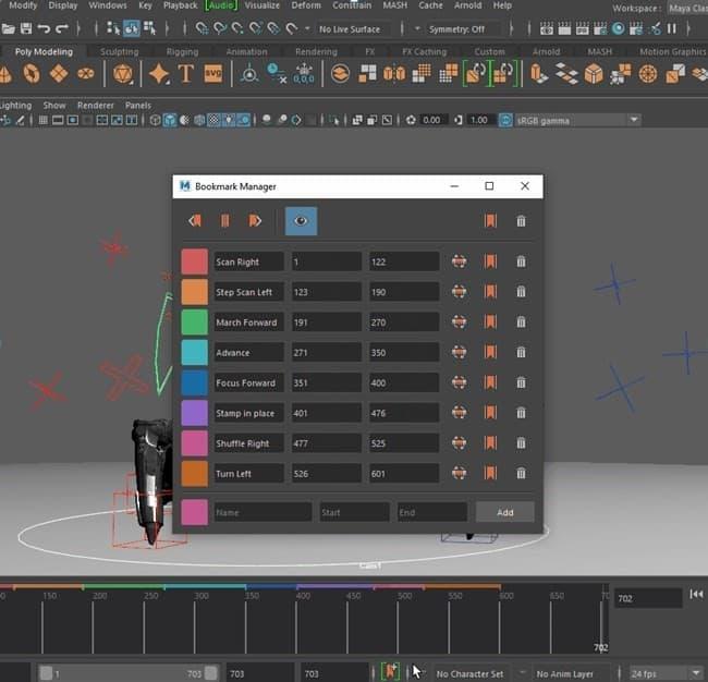 Użycie Animation Bookmarks w Maya 2020