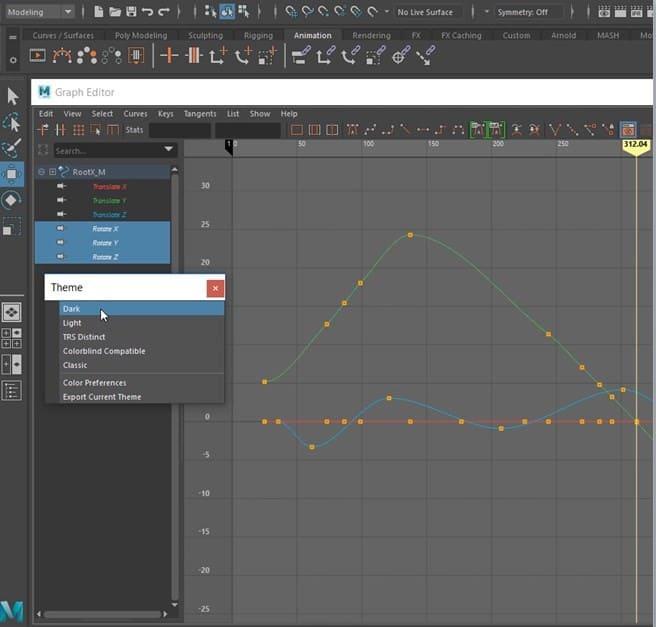 Graph Editor w Maya 2020