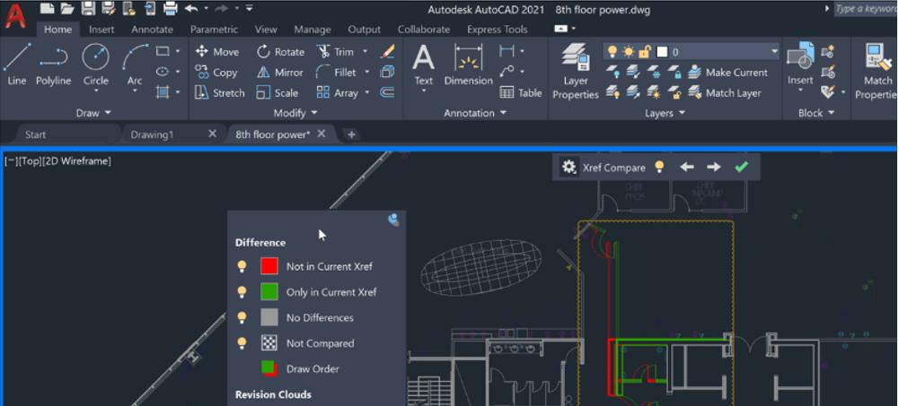 AutoCAD 2021 Porównywarka Xref- porównanie 2 wersje zewnętrznego Xref i automatyczne zaimportowanie zmian 1