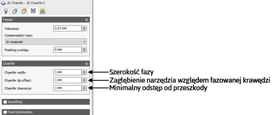 Autodesk HSM Fazowanie krawędzi Chamfer tip offset