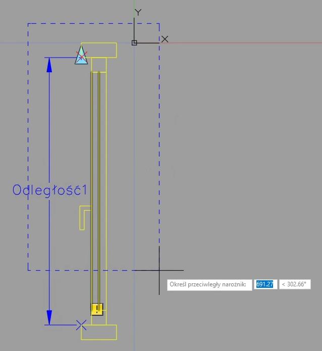 AutoCAD definiowanie rozciągnięcia 1