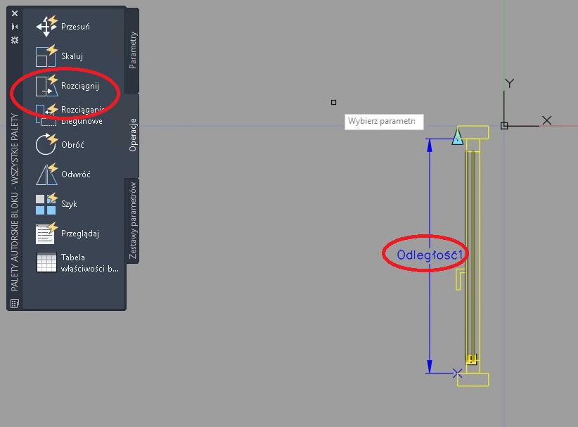 AutoCAD parametr rozciągnięcia