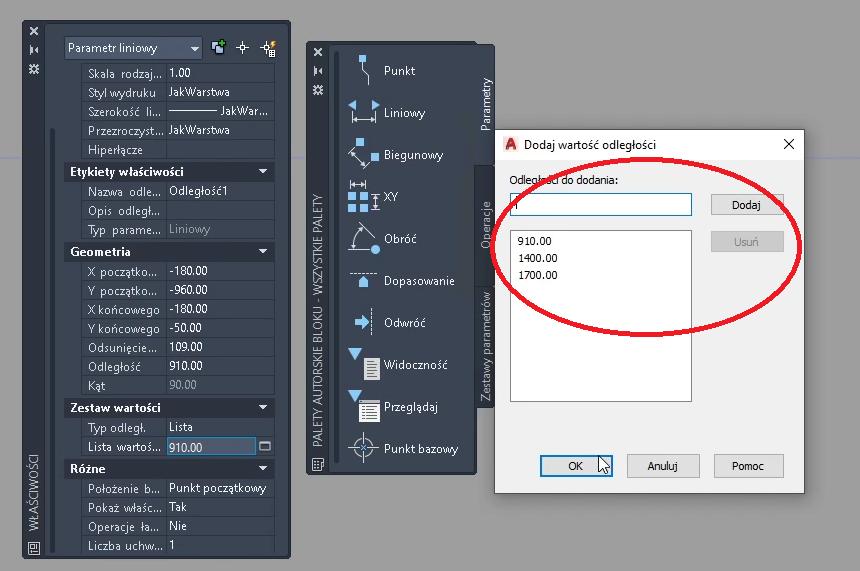 AutoCAD właściwości parameteru rozciągania 1