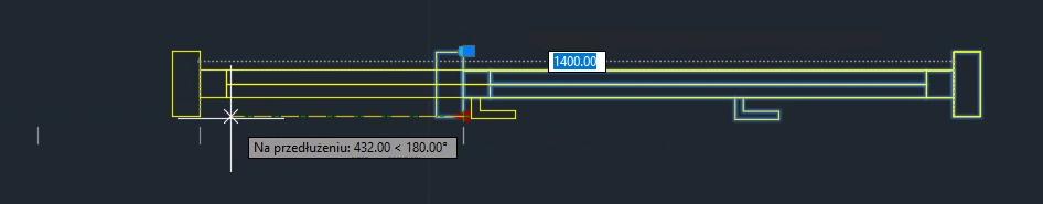 AutoCAD wstawianie bloku i zmiana długości 1