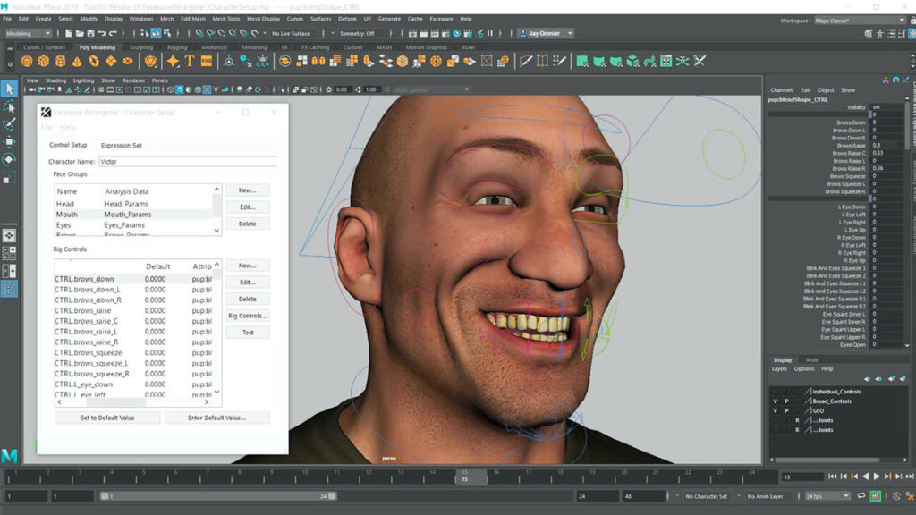 Faceware motion capture twarzy 1-character-setup