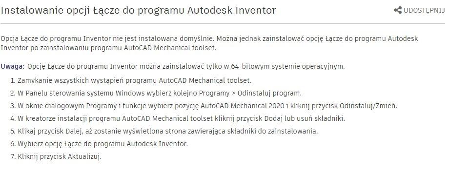 Przeniesienie modelu 3D Inventora na rysunek płaski AutoCAD 2