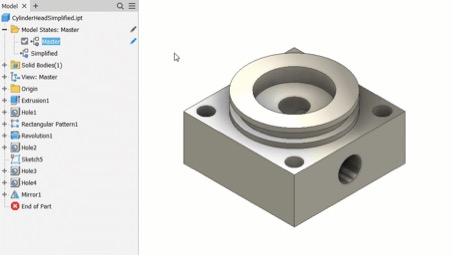 Inventor 2022 2 stany modelu