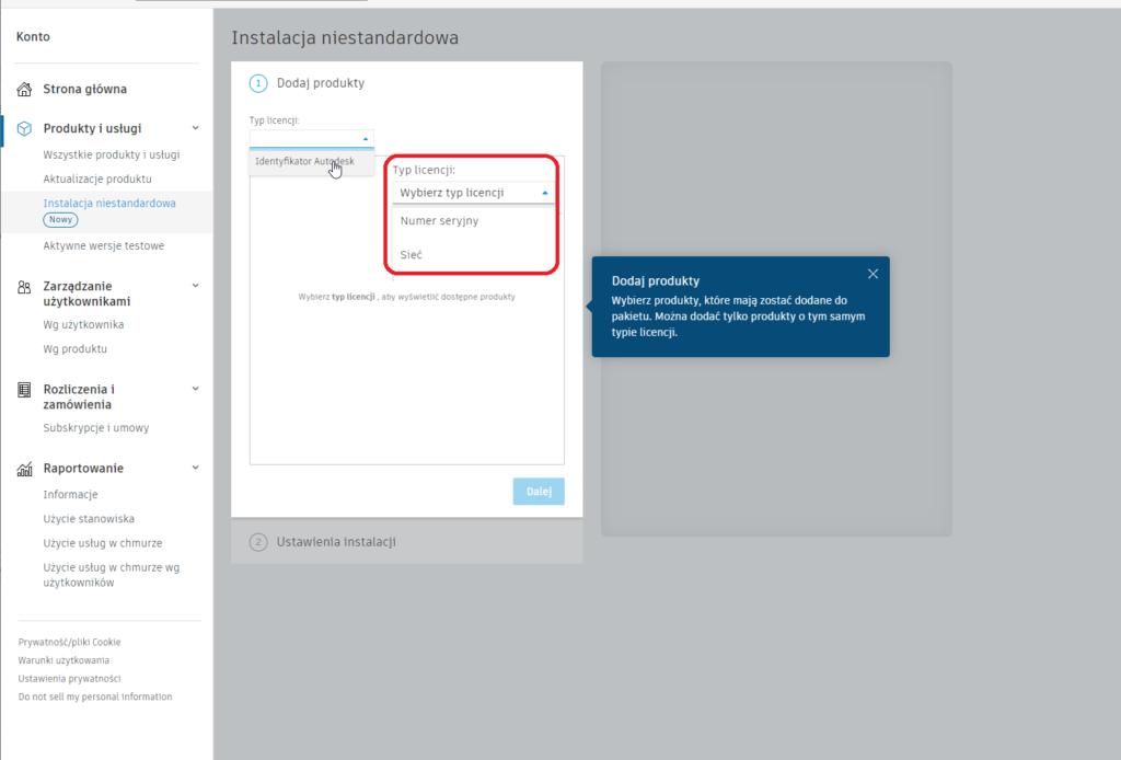 Instalacja niestandardowa - Typy licencji Autodesk
